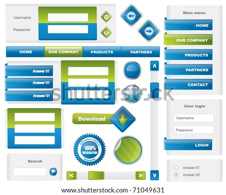 Modern website template elements - blue and green - stock vector