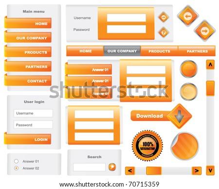 Modern website template elements - vector - stock vector