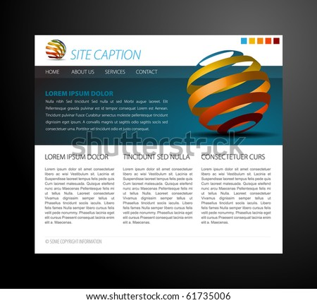 Modern website template - with some 3D elements - stock vector