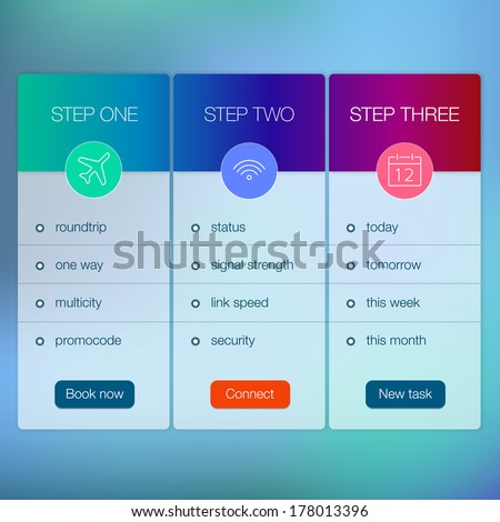 Awesome Modern Website Ui Template Design. Transparent App User Interface Wizard  Buttons On Minimalistic Backdrop.