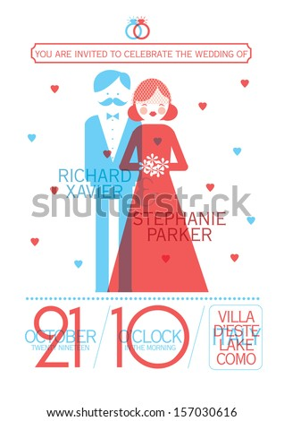 modern wedding invitation card template vector/illustration - stock vector
