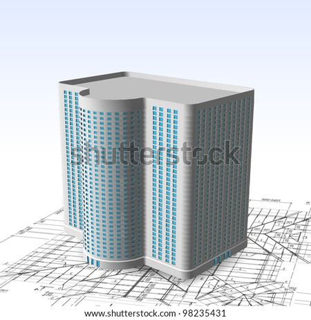 Modern white building. Vector - stock vector