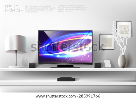 Modern white shelf with flat TV and sound system. Rich vector graphic template. - stock vector