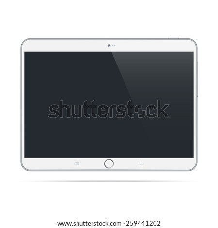 Modern white tablet pc computer isolated on white background. Blank screen. Realistic vector illustration