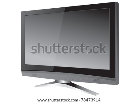 Modern wide-screen tv vector - stock vector