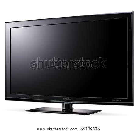 Modern widescreen tv lcd monitor, vector illustration. - stock vector