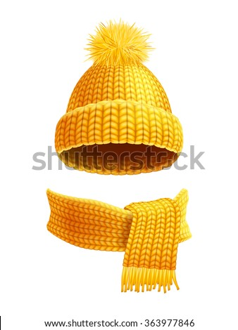 Modern winter knitted beanie hat with pompon and scarf set in yellow golden realistic pictogram vector illustration  - stock vector