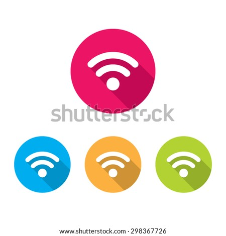 Modern Wireless Connection Icons With Long Shadow - stock vector