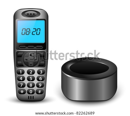Modern wireless phone with clock on the screen and charger. Vector illustration - stock vector