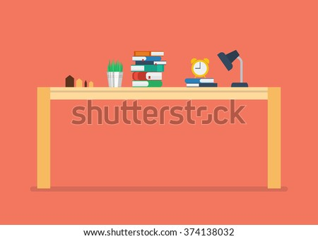 Modern wood table in flat style - stock vector