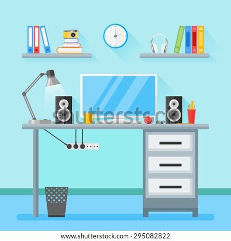 Modern workplace in room. Home workspace with objects, equipment. Flat style illustration with long shadow. - stock vector