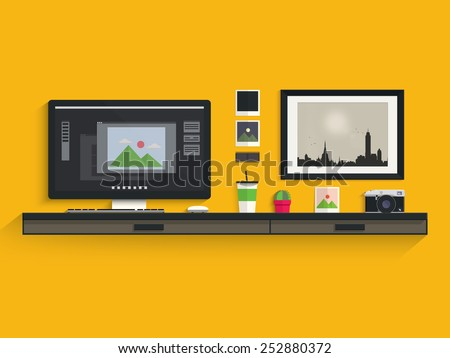 Modern workplace of photographer - stock vector