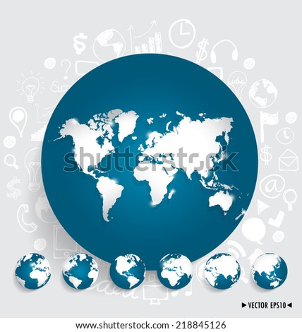Modern world map and globe with application icon, modern template design. Vector illustration.