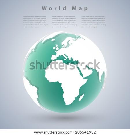 Modern world map design with shadows.by NASA - stock vector