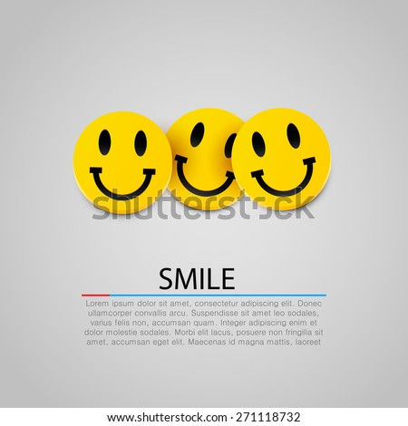 Modern yellow laughing three smiles. Vector illustration - stock vector