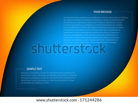 Modern yellow line on blue background vector dimension 3d overlap graphic message board for text and message design frame line shadow for modern web design - stock vector