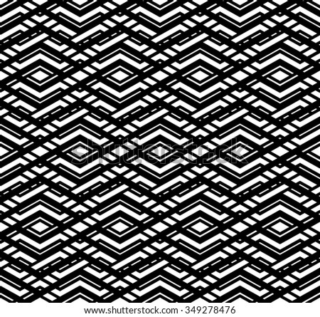 Modern zigzag contrast geometric seamless pattern. Rhombus graphic contemporary splicing. Overlay black and white infinite backdrop with symmetric ornament.