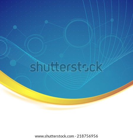 Modernistic connection background gold border and swoosh wave technology concept. Vector illustration - stock vector