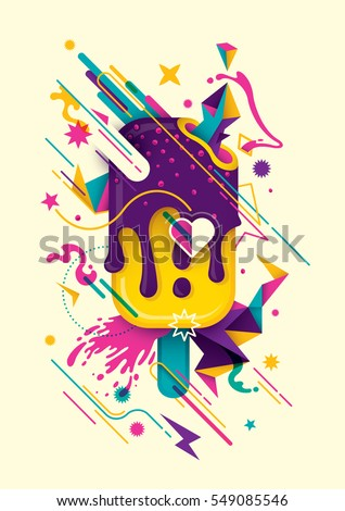 Modish colorful abstract composition with ice cream, geometric objects, splash and other various design elements. Vector illustration.
