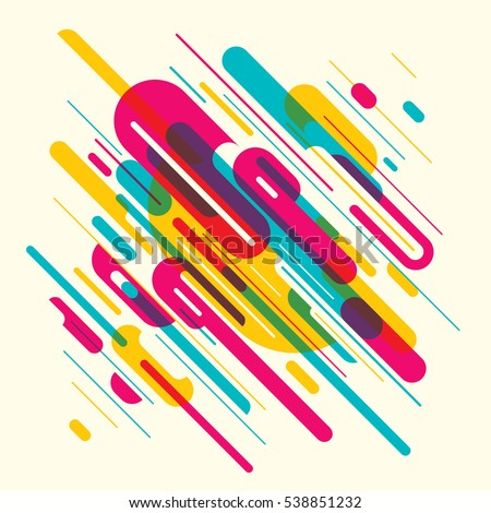 Modish style abstract background with colorful rounded shapes. Vector illustration.