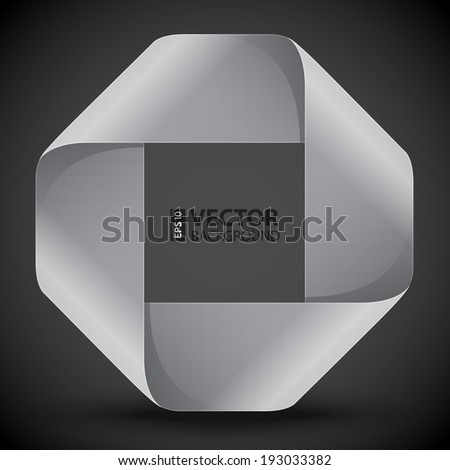 Moebius origami gray and white paper rectangle. RGB EPS 10 vector illustration