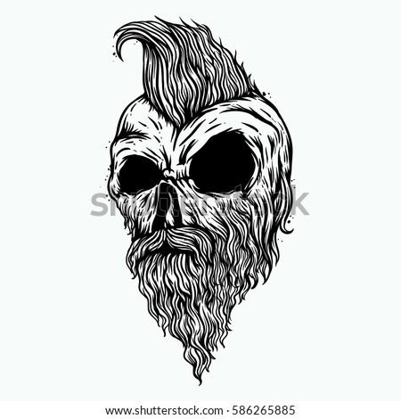 Mohawk Skull Beard Mustache Drawing Stock Vector 586265885 ...