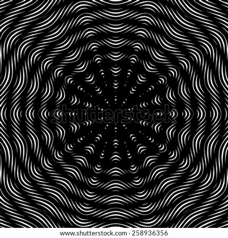 Moire pattern, monochrome background with trance effect. Optical illusion, creative black and white graphic backdrop. - stock vector