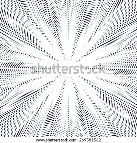 Moire pattern, vector monochrome background with trance effect. Optical illusion, creative black and white graphic backdrop. - stock vector
