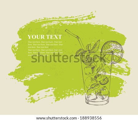 Mojito with mint and lime on green grunge background - stock vector