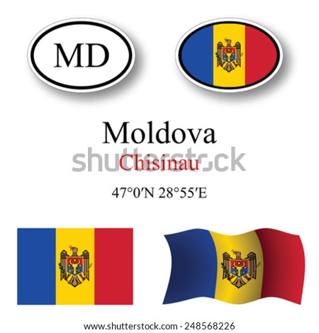 moldova icons set against white background, abstract vector art illustration, image contains transparency - stock vector