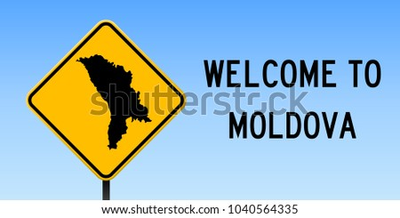 Moldova map road sign wide poster stock vector 1040564335 shutterstock moldova map road sign wide poster with country outline on yellow rhomb signboard vector publicscrutiny Image collections