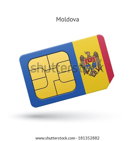 Moldova mobile phone sim card with flag. Vector illustration.