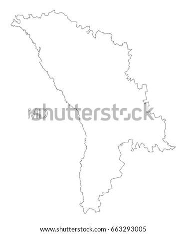 Moldova Outline Silhouette Map Illustration Black Stock Vector - Moldova map outline