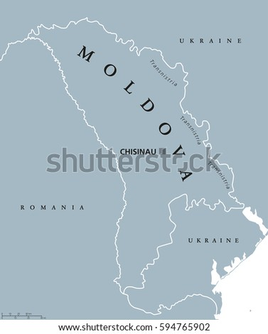 Moldova Political Map Capital Chisinau Transnistria Stock Vector