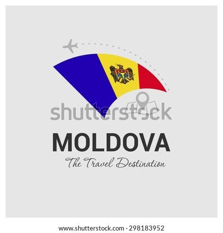 Moldova The Travel Destination logo - Vector travel company logo design - Country Flag Travel and Tourism concept t shirt graphics - vector illustration - stock vector