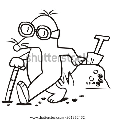 mole and stick-coloring book - stock vector