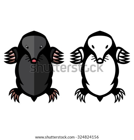 mole pest animal vector illustration - set of household pests in pure style - stock vector