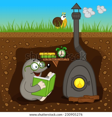 mole reading book at home - vector illustration, eps - stock vector