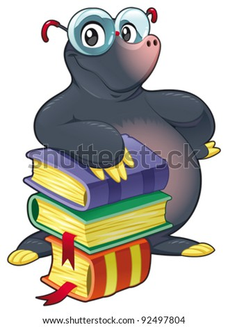 Mole with books. Funny cartoon and vector isolated character - stock vector