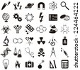 Molecular biology medicine and science vector icons collection - stock photo
