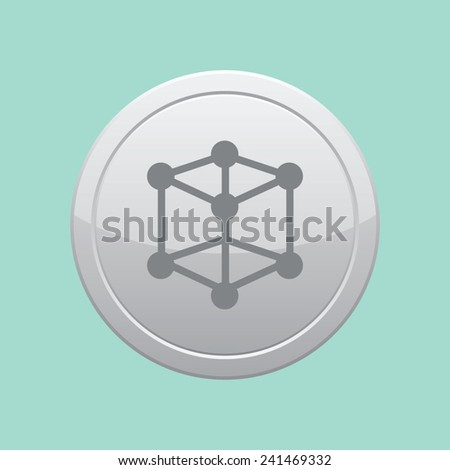Molecular compound vector icon. Gray round button. - stock vector