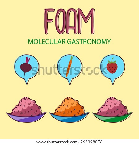 Molecular gastronomy FOAM set. 3 kinds of food foam. - stock vector