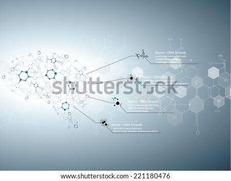 Molecular human brain, Creative concept vector illustration. - stock vector