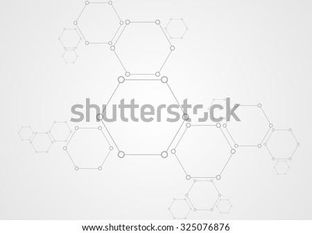 Molecular structure abstract tech background. Light grey vector medical design - stock vector