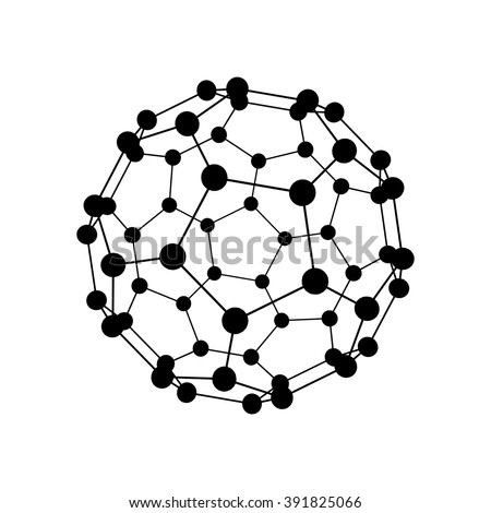 Molecular structure in the form of a sphere isolated on white background. Vector illustration. - stock vector