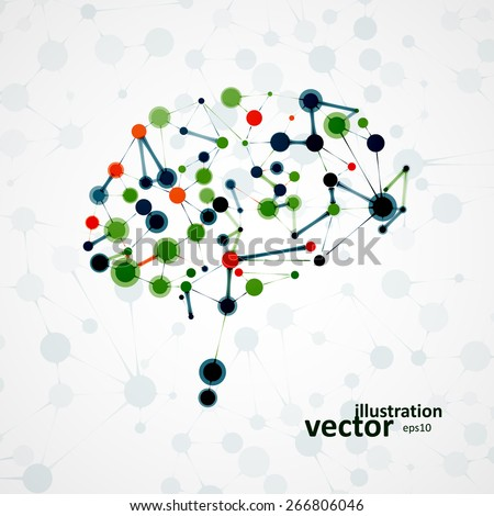 Molecular structure in the form of brain, futuristic vector illustration - stock vector