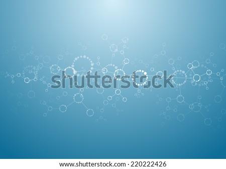 Molecular structures background vector - stock vector