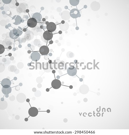 Molecule background, translucent grey molecules on white with space for text. - stock vector