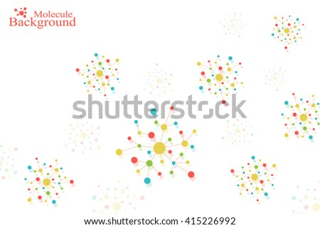 Molecule DNA and communication background. Connected lines with dots. Geometric abstract composition neuron. Concept science, connection, chemistry, biology, medicine, technology. Vector illustration. - stock vector
