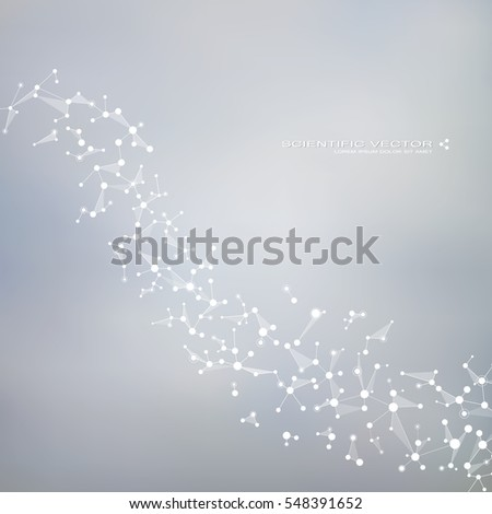 Molecule DNA and neurons vector. Molecular structure. Connected lines with dots. Genetic chemical compounds. Chemistry, medicine, science, technology concept. Geometric abstract background.